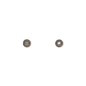 bead, antique gold-plated brass, 4mm corrugated round. sold per pkg of 100.