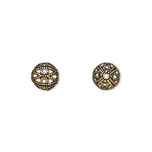 bead, antique gold-plated brass, 8mm filigree round. sold per pkg of 100.