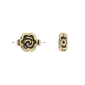 bead, antique gold-plated copper, 12x9.5mm flat round flower. sold per pkg of 12.