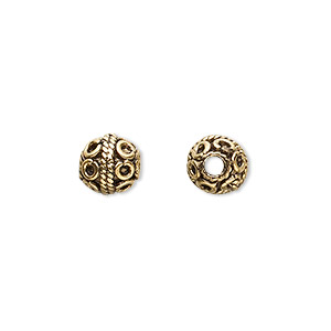 bead, antique gold-plated pewter (tin-based alloy), 8mm round with circles. sold per pkg of 4.