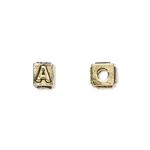 bead, antique gold-plated pewter (tin-based alloy), 8x6mm rectangle with alphabet letter a and 3mm hole. sold per pkg of 4.