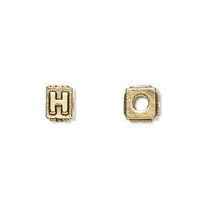 bead, antique gold-plated pewter (tin-based alloy), 8x6mm rectangle with alphabet letter h and 3mm hole. sold per pkg of 4.