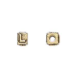 bead, antique gold-plated pewter (tin-based alloy), 8x6mm rectangle with alphabet letter l and 3mm hole. sold per pkg of 4.