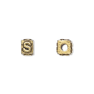 bead, antique gold-plated pewter (tin-based alloy), 8x6mm rectangle with alphabet letter s and 3mm hole. sold per pkg of 4.