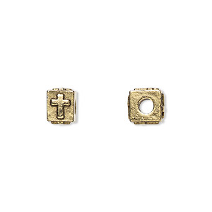 bead, antique gold-plated pewter (tin-based alloy), 8x6mm rectangle with cross, 3mm hole. sold per pkg of 4.