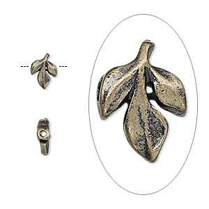 bead, antique gold-plated pewter (zinc-based alloy), 8x5mm double-sided leaf. sold per pkg of 24.