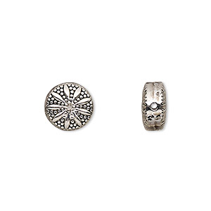 bead, antique silver-finished pewter (zinc-based alloy), 10mm double-sided beaded flat round with flower design. sold per pkg of 10.