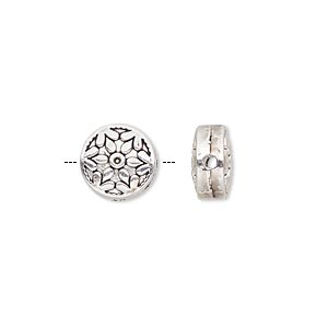 bead, antique silver-finished pewter (zinc-based alloy), 10mm double-sided flat round with snowflake design. sold per pkg of 10.