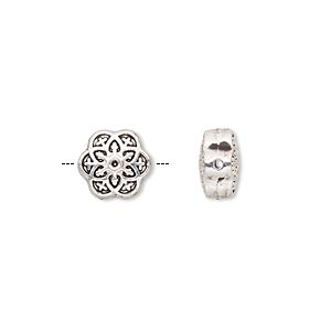 bead, antique silver-finished pewter (zinc-based alloy), 10x10mm double-sided flower. sold per pkg of 10.