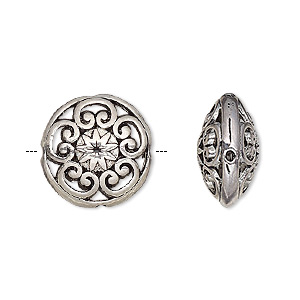bead, antique silver-finished pewter (zinc-based alloy), 16.5mm double-sided filigree puffed flat round. sold per pkg of 6.