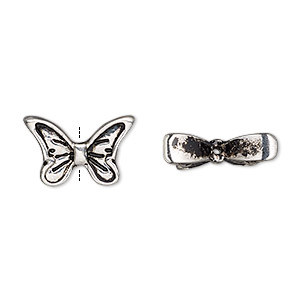 bead, antique silver-finished pewter (zinc-based alloy), 16.5x10.5mm butterfly wings. sold per pkg of 4.