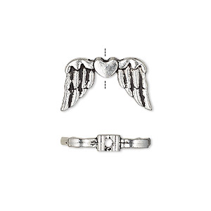 bead, antique silver-finished pewter (zinc-based alloy), 19x11mm double-sided wing with heart. sold per pkg of 10.