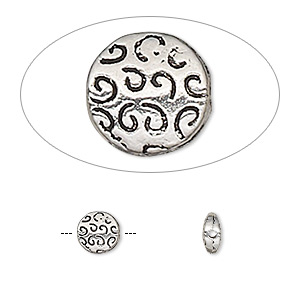 bead, antique silver-finished pewter (zinc-based alloy), 6.5mm double-sided flat round with swirls. sold per pkg of 10.