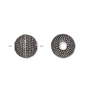 bead, antique silver-plated brass, 12mm textured round, 2.5mm hole. sold per pkg of 2.