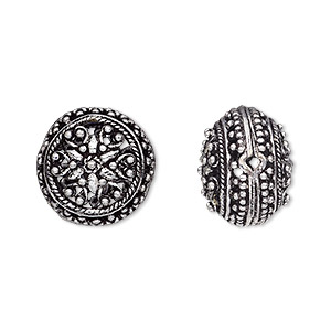 bead, antique silver-plated brass, 16x12mm filigree puffed flat round. sold per pkg of 2.