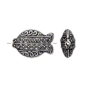 bead, antique silver-plated brass, 20.5x14mm puffed filigree fish with dots, swirls and braids. sold individually.