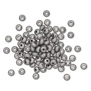 bead, antique silver-plated brass, 4.5x3mm corrugated saucer. sold per pkg of 100.