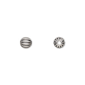 bead, antique silver-plated brass, 6mm corrugated round. sold per pkg of 100.