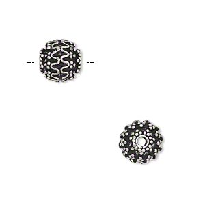 bead, antique silver-plated brass, 9mm beaded round with wave design. sold per pkg of 6.