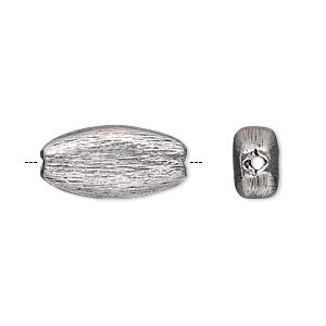 bead, antique silver-plated copper, 20x10mm brushed flat oval. sold per pkg of 6.