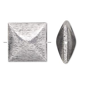 bead, antique silver-plated copper, 20x20mm brushed double pyramid. sold per pkg of 2.