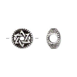 bead, antique silver-plated pewter (tin-based alloy), 12mm double-sided round with star of david, 5mm hole. sold individually.
