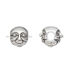 bead, antique silver-plated pewter (tin-based alloy), 12x10mm double-sided face, 5mm hole. sold individually.