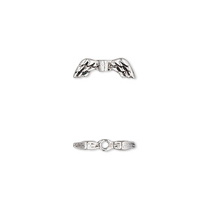 bead, antique silver-plated pewter (tin-based alloy), 13x4.5mm double-sided angel wings. sold per pkg of 6.