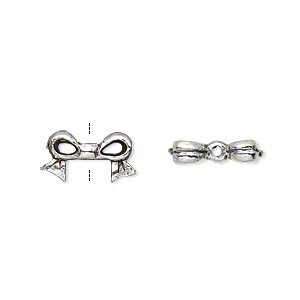 bead, antique silver-plated pewter (tin-based alloy), 13x7mm bow, fits 6x6mm cube bead. sold per pkg of 4.