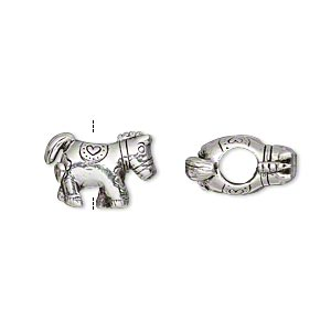 bead, antique silver-plated pewter (tin-based alloy), 14x10mm double-sided pony with heart, 5mm hole. sold individually.