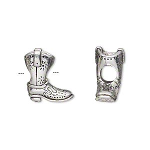 bead, antique silver-plated pewter (tin-based alloy), 16x14mm double-sided cowboy boot, 5mm hole. sold individually.