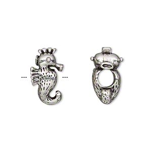 bead, antique silver-plated pewter (tin-based alloy), 17x10mm double-sided seahorse, 5mm hole. sold individually.