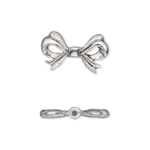 bead, antique silver-plated pewter (tin-based alloy), 20x12mm double-sided bow. sold per pkg of 2.
