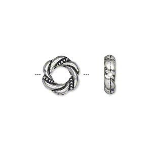 bead, antique silver-plated pewter (zinc-based alloy), 11mm double-sided round donut with twisted rope design, 3.5mm center hole. sold per pkg of 500.