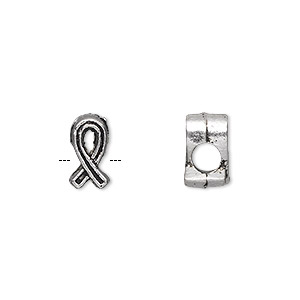 bead, antique silver-plated pewter (zinc-based alloy), 11x6mm double-sided awareness ribbon, 4mm hole. sold per pkg of 20.