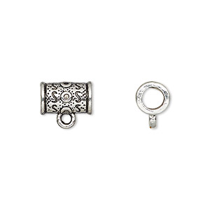bead, antique silver-plated pewter (zinc-based alloy), 11x7mm tube with loop, 4mm hole. sold per pkg of 20.