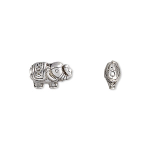 bead, antique silver-plated pewter (zinc-based alloy), 12.5x8.5mm elephant. sold per pkg of 10.