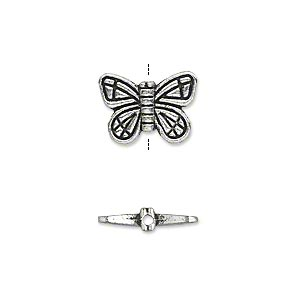 bead, antique silver-plated pewter (zinc-based alloy), 15x10mm double-sided butterfly. sold per pkg of 500.
