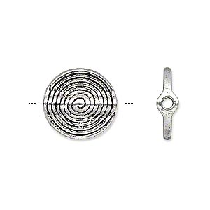 bead, antique silver-plated pewter (zinc-based alloy), 15x4mm double-sided spiral tube. sold per pkg of 500.