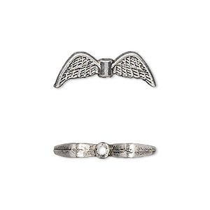 bead, antique silver-plated pewter (zinc-based alloy), 21x7mm double-sided angel wings. sold per pkg of 500.