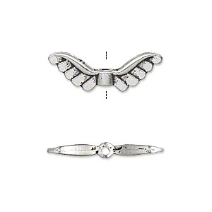 bead, antique silver-plated pewter (zinc-based alloy), 24x8mm double-sided angel wings. sold per pkg of 20.