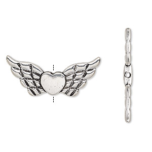 bead, antique silver-plated pewter (zinc-based alloy), 42x18mm double-sided angel wing with heart, 2mm hole. sold per pkg of 4.