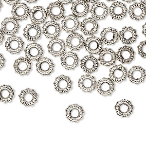 bead, antique silver-plated pewter (zinc-based alloy), 6x2mm rondelle, 2.5mm hole. sold per pkg of 500.