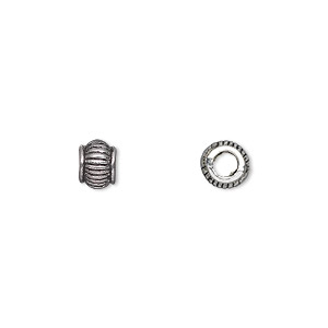 bead, antique silver-plated pewter (zinc-based alloy), 6x5mm rondelle with 3mm hole. sold per pkg of 50.