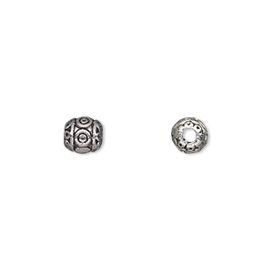 bead, antique silver-plated pewter (zinc-based alloy), 6x6mm barrel with 2mm hole. sold per pkg of 50.