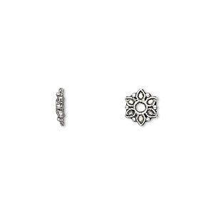 bead, antique silver-plated pewter (zinc-based alloy), 7x2mm single-sided flower rondelle. sold per pkg of 500.