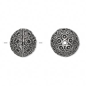 bead, antique silver-plated white brass, 14mm round with dot and circle accents. sold per pkg of 2.