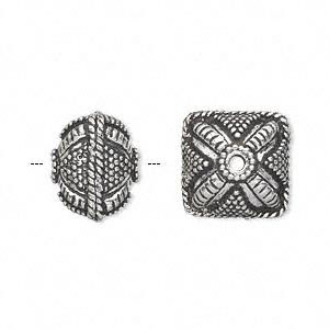 bead, antique silver-plated white brass, 14x12mm fancy puffed square with dot and braid accents. sold per pkg of 2.