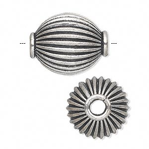 bead, antique silver-plated white brass, 23x18mm corrugated rimmed oval with 4mm hole. sold per pkg of 2.