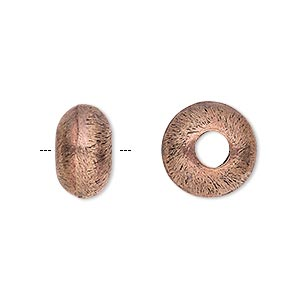 bead, antiqued copper, 14x8mm brushed rondelle with 5mm hole. sold per pkg of 4.